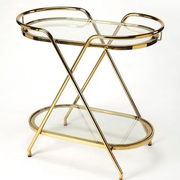Butler Skylar Polished Gold Tray End Table