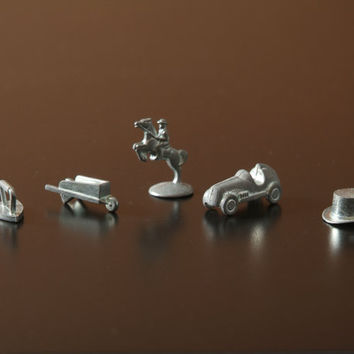 Five Monopoly Game Pieces includes Retired Iron and Man on Horseback