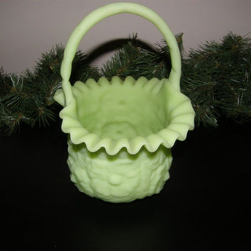 Vintage Fenton Green Satin Vaseline Glass Basket circa. 1960'S