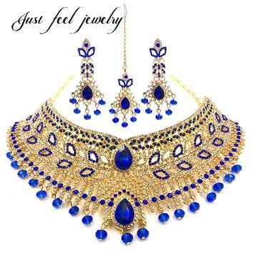 Luxury Indian Gold Color Jewelry Sets Necklace Choker Earrings Headdress 3PC Bridal kundan jewellery for Women Party Mme bijoux