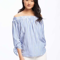 Relaxed Off-the-Shoulder Striped Top for Women | Old Navy
