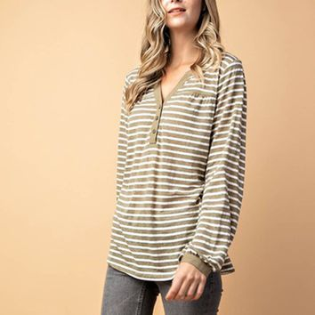 Hope Striped Henley in Sage