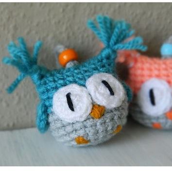 Amigurumi Owl Keyring : Owl Necklace & Bookmark in one piece - from Etilinki on Etsy