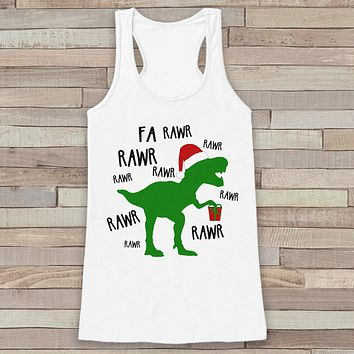 Dinosaur Christmas Tank - Funny Adult Christmas Shirt - Womens White Tank Top - Merry Christmas Tank - Holiday Gift Idea - Dino T Rex Shirt