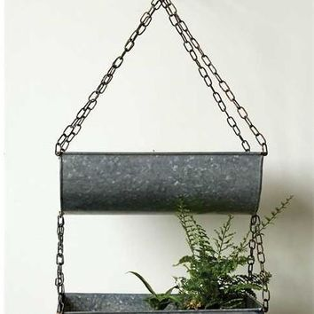 "Metal Hanging Wall Planters with Zinc Finish31.5"" High x 15.5"" Long"