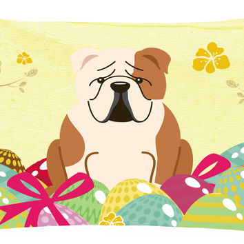 Easter Eggs English Bulldog Fawn White Canvas Fabric Decorative Pillow BB6125PW1216
