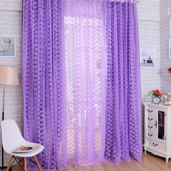 Promotion 2016 Rose Flowers Pattern Window Voile Curtain 100 * 200 CM Living Room Tull Valance Home Decoration Curtain P0.4