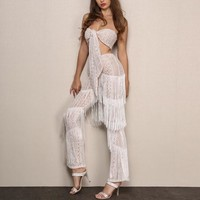 Tropic affair fringe 2 piece crop top pants set