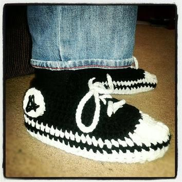 Crocheted Converse Inspired Slippers available in Mens, Womens, Childrens and Baby siz