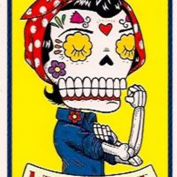 Rosie the Riveter Inspired Calavera Die Cut Vinyl Sticker Sugar Skull - Day of the Dead - Weather Proof Decal