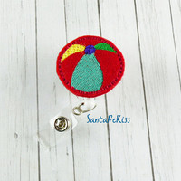 Beach Ball Badge Holder with Retractable Embroidered Felt Badge Reel - Medical Badge Holder