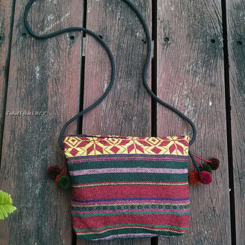 Cute Unique PomPom Cross body Purse Handbags Nepali Cotton Sling Hippie Hobo Boho Diaper Tote Thai Tribal Woven Handwoven Aztec Gift Kawaii