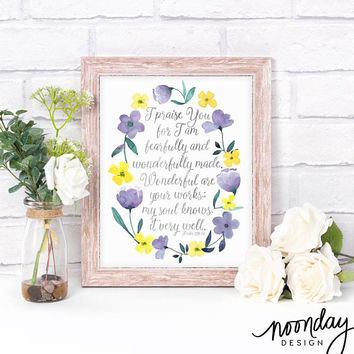 Psalm 139:14 Art Print, Scripture Art, Poster, Fearfully and Wonderfully Made, Bible Art Print, Inspiration, Encouragement