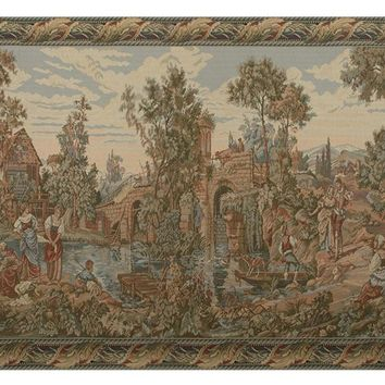 Washing by the Lake Both Panels Tapestry Wall Hanging