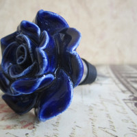 Wine Bottle Stopper  Blue Ceramic Rose Stopper by ZVineWine