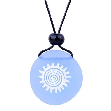 Amulet Frosted Sea Glass Stone Positive Magic Energy Sun Good Luck Powers Sky Blue Adjustable Necklace
