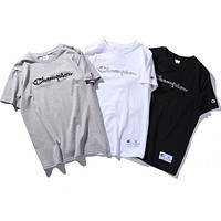 Champion Women Men Fashion Casual Embroidery T-Shirt