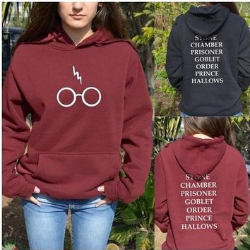 2017 Spring Womens Harry Potter Lightning Glasses Printed Hooded Black Harajuku Hoodies Pullover Plus Big Size S-xl Red Bts