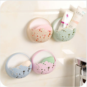 Candy Color Toilet Suction Cup Holder Bathroom Kitchen Soap Dish Home Soap Holder Tray Wall Holder Storage Box