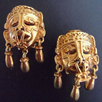 Tribal Head-Face Mask Gold Tone Earrings, Aztec Mexico, Dangles....Vintage