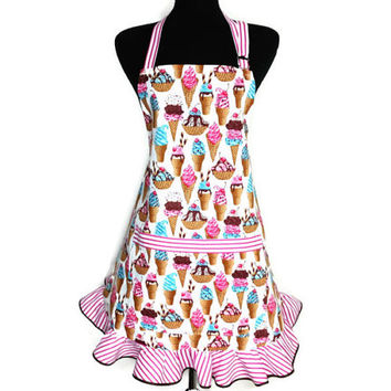 Ice Cream Cone Apron for women , Pink and white ruffle , Retro Kitchen Decor