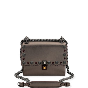 Fendi Kan I Mini Scalloped Studded Chain Shoulder Bag