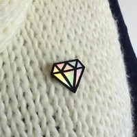 Big iridescent and black graphic diamond brooch, modern brooch with rainbow reflections, painted plastic brooch (recycled CD)