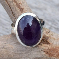 Amethyst ring,  stone ring, silver ring, silver Amethyst ring, 92.5 sterling silver, Amethyst Silver Ring,  RNSL207