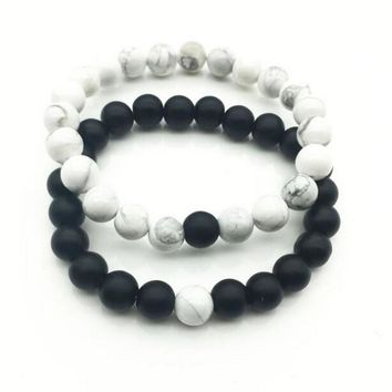 1pc Couples Distance Bracelet with 100% Natural Stone White and Black Yin Yang Bracelets for Men Women Best Friends