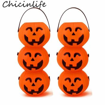 Chicinlife 2Pcs Halloween Pumpkin Plastic Candy Jar Portable Halloween Party Decoration Baby Shower Kids Favors Supplies
