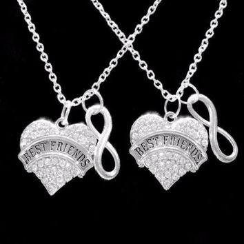 Crystal Best Friends Infinity Forever Friend Friendship Gift Charm Necklace Set