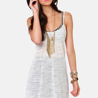 Insight Midi Stripe Sheer Ivory Dress