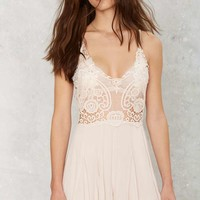 Running Lace Plunging Romper