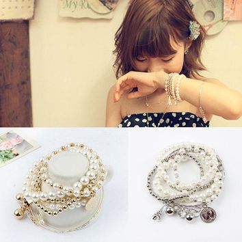 New Jewelry Hip Vintage Noble Punk Multilayer Eiffel Tower Simulated Pearl Coin Crystal Bracelet Pendant 2 Colors