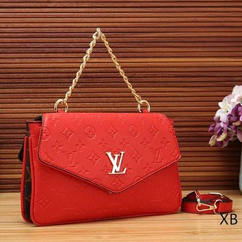 Louis Vuitton Women fashion new satchel monogram leather chain crossbody handbag shoulder bag Red