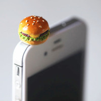 Kawaii/Cute Cheese Burger Iphone Earphone Plug/Dust Plug - Cellphone Headphone Handmade Decorations