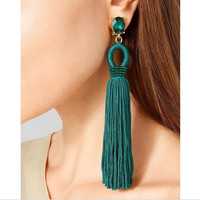 Fashion Long Type Earrings Tassel Earrings Blue