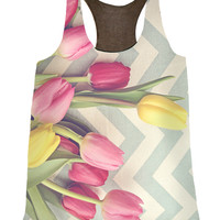 Tulips and Chevrons Top