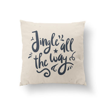 Jingle All The Way Pillow, Christmas Pillow, Home Decor, Cushion Cover, Throw Pillow, Bedroom Decor, Decorative Pillow, Bed Pillow, Santa