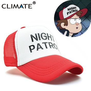 CLIMATE Gravity Falls Dipper Caps Night Patrol Family Cosplay Cool Red Mesh Cas Summer Cool Baseball Mesh Net Trucker Caps Hat