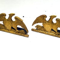 Brass, Golden, Eagle, Bookends, Mid Century, Decor, Patriotic, Americana, Desk, Retro, Old, Library, Book, Office, Deco, Accessory, Antique