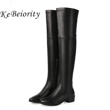 KEBEIORITY Women Boots Autumn Winter Chunky Shoes Over the Knee High Boots Women Leather Low Heels Sexy Thigh High Boots 2017