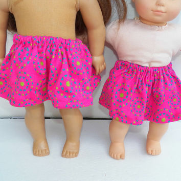 "American Girl 18"" or Bitty Baby Clothes 15"" Doll Clothes Pink turquoise green print Cotton Knit Circle Skirt"