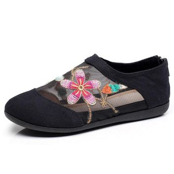 Gauze Canvas Floral Embroidered Women Casual Flats Soft Cotton Fabric Ballets for Ladies Summer Woman Slip-on Shoes