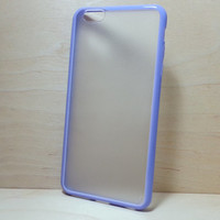 Silicone Bumper and Translucent Frosted Hard Plastic Back Case for iPhone 6 Plus (5.5 inches) - Purple