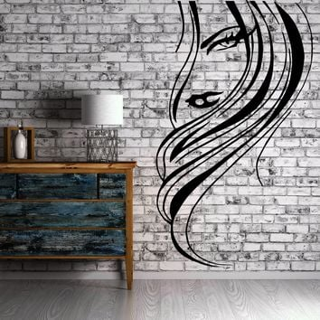 Beautiful Woman Face Sexy Lips & Hair Decor Wall Mural Vinyl Decal Sticker Unique Gift M422