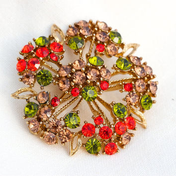 Vintage Brooch Orange Green Amber Rhinestone