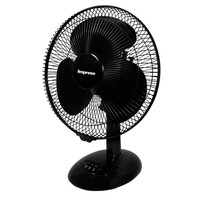 Impress 12 Inch 3 Speed Oscillating Table Fan- Black