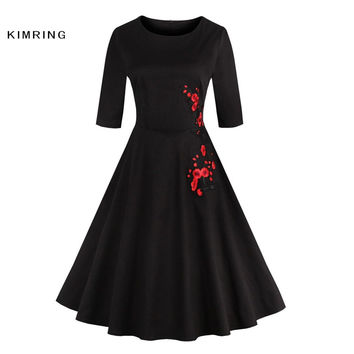 KIMRING AUTUMN VINTAGE PLUS SIZE DRESS SLIM HALF SLEEVES COCKTAIL ELEGANT FLORAL PATTERN 1950'S CASUAL VESTIDOS ROBE WOMEN DRESS