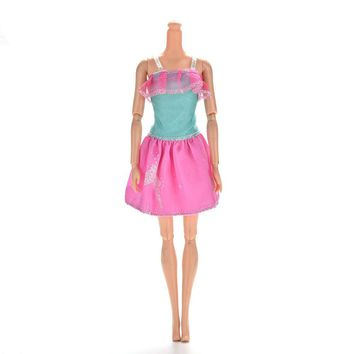 1 Pcs Mini Princess Lace Dress for Barbies Dolls Summer Print Doll Dress Clothing 13cm Party Gown Clothes For Barbie Doll